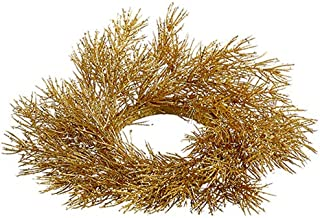 "SilksAreForever 3"" Artificial Glittered Pine Candle Ring Holder -Gold (Pack of 12)"