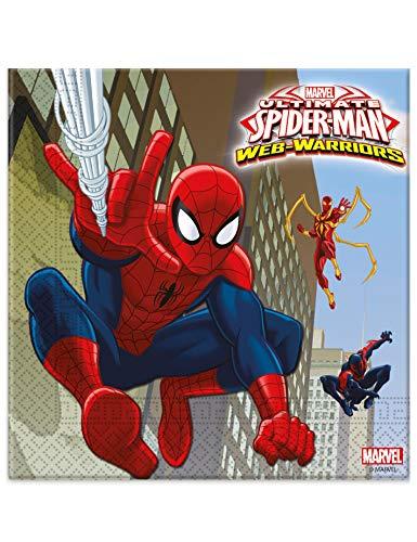 COOLMP – Lote de 3 – 20 servilletas de papel Spiderman 33 x 33 cm – Talla única – Decoración y accesorios de fiesta, animación festiva, cumpleaños, bodas, eventos, juguetes, cotillon