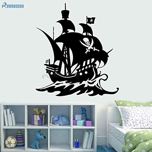 Decoración náutica para el hogar Barco Pirata Tatuajes de Pared Barco Marino Vinilo Arte Pegatinas de Pared habitación Infantil Papel Tapiz extraíble Mural 63x70 cm