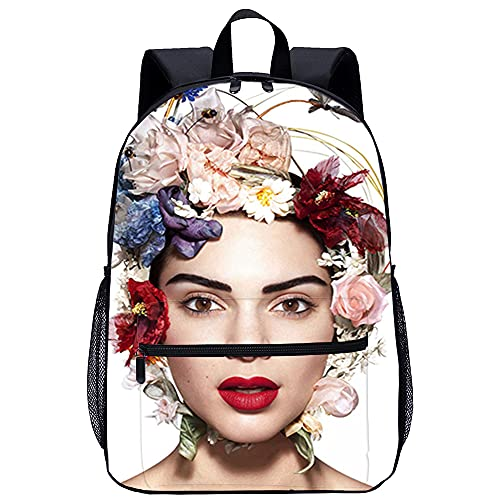 RomantiassLu Kendall Jenner Mochila Impresión 3D Mochilas para portátil Mochila para portátil Mochila informal Novedad Vestir Mochila de viaje