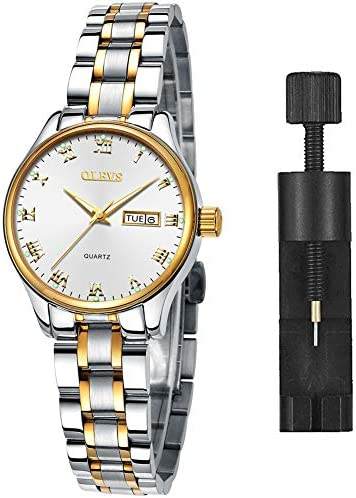 Luxury Ladies Watches,Women's Watch with Day and Date,Female Watch for Small Wrist,Gold Stainless Steel Watches for Women,Black Roman Numerals Watch Women,Easy Read Ladies Wrist Watches Waterproof(Adjustable Strap)
