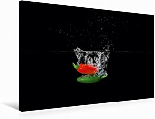 Premium - Lienzo de tela (90 x 60 cm, horizontal), diseño de calendario de frutas Splash