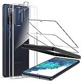 LK Compatible con Samsung Galaxy S20 FE Protector de Pantalla,2 Pack Cristal Templado y 2 Pack Protector de Lente de cámara, y 1 Pack Silicona Funda Transparente TPU, Kit de Instalación Incluido