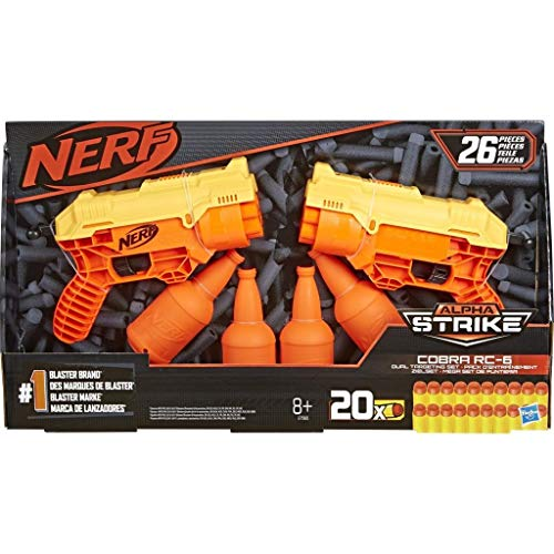 Nerf Alpha Strike Set 26-Piece Cobra RC-6 Dual Targeting Set - Includes 2 Toy Blasters, 4 Half-Targets, and 20 Official Nerf Elite Darts - for Kids, Teens, Adults