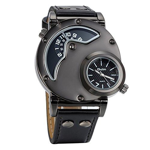 Avaner Grande Reloj de Hombre Militar Deportivo Reloj de Pulsera Negro, Correa de Cuero Reloj de Piloto Navegador 2 Zonas de Horarios, Diseño Original