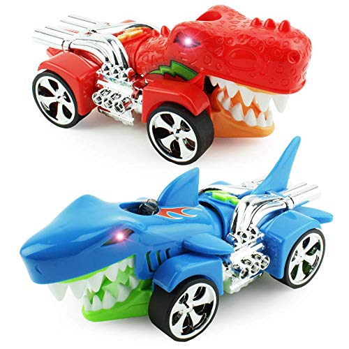 Boley Shark and Dino Chomper Race Cars - Shark Car and Dinosaur Car with Chomping Action! Battery Powered 2 Pack Bright Shark and Dino Car Toys for Boys and Kids Driving Racing Games