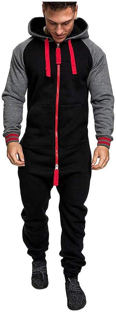 MmNote Men's Unisex Jumpsuit Elegant One Piece Pajama Sleepwear Zipper Jumpsuit Pullover Hooded Sweatshirt