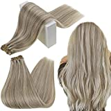 RUNATURE Human Hair Bundles 22 Inch Weft Hair Extensions Brown with Blonde Hair Sew in Weave 100g Human Hair Weft Extensions Straight Brazilian Hair Extensions Weave Hair Human Bundles
