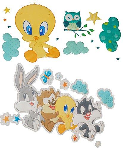 alles-meine.de GmbH 23 TLG. Set: 3-D XL-Wandtattoo / Fensterbild / Sticker -  Baby Looney Tunes  - Tweety Bugs Bunny - wasserfest - selbstklebend Pop-Up Aufkleber Wandsticker -..