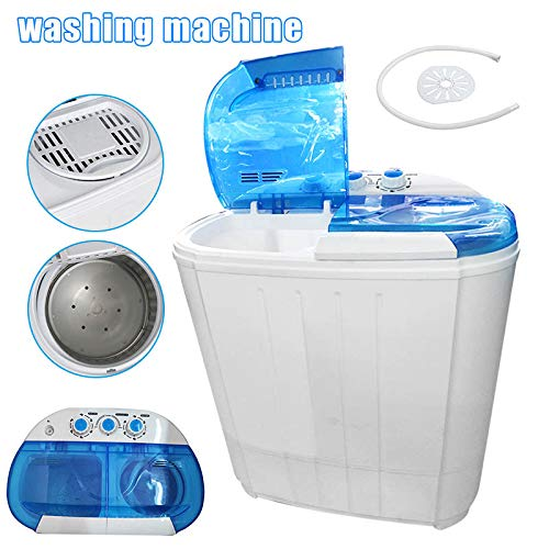 FDGT Mini Washing Machine - Compact Portable Washer And Dryer, Twin Tub with Spin Dryer for Home Apartments, Blue+ White