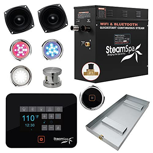 SteamSpa Raven Series Wifi and Bluetooth 7.5kW QuickStart Steam Bath Generator Package in in Brushed Nickel   Touch Screen Wifi App Control Steam Shower Kit with Drain Pan and speakers   SS-RVB750BN-A