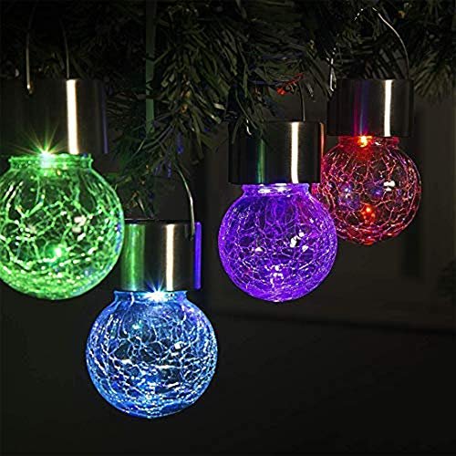 Solar Hanging Lights Crackle Glass Hanging Ball Lights Outdoor Lantern Light Ornaments Patio, Yard-Warm White,Christmas Decoration,Garden Party (Color)