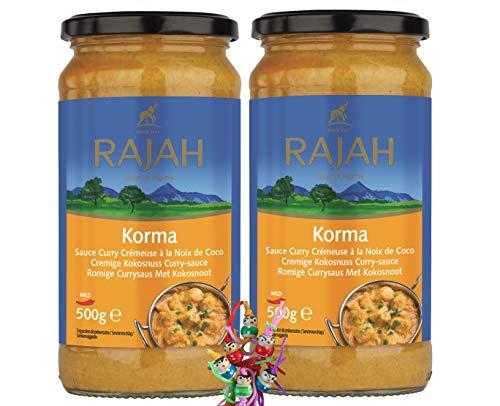 yoaxia ® - 2er Pack - [ 2x 500g ] RAJAH [ Korma ] Cremige Kokosnuss-Curry Sauce + ein kleines Glückspüppchen - Holzpüppchen
