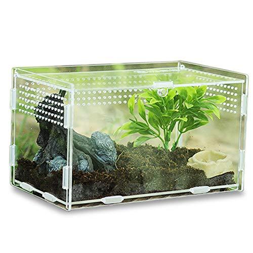 Keweni Insect Feeding Box, Acryl-Terrarium-Behälter für Spinnenechsen-Frosch-Skorpion, Tragbarer Kriechender Haustier-Reptilien-Lebensraum, Anti-Flucht-Design (klar1)