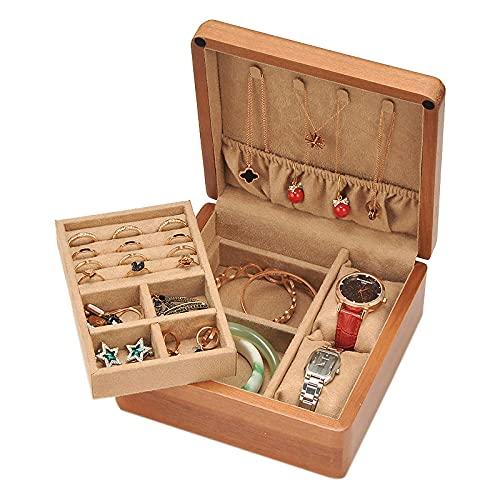 Madera Caja JoyeroCaja Organizadora de Joyas para mujer Mini portátil Caja de Joyas para anillos pendientes collares pulseras relojes caja de regalo de joyería