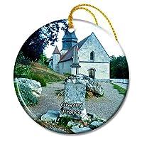 Giverny フランス Sainte-Givernyのラデゴンド教会クリスマスオーナメントセラミックシート旅行お土産ギフト