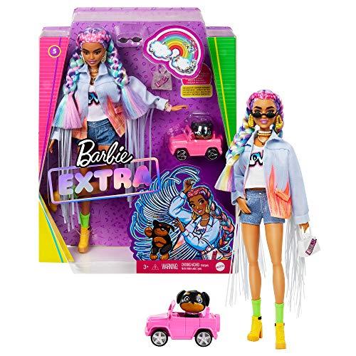 Barbie Extra poupée articulée aux cheveux multicolores, look tendance et oversize, avec figurine animale et accessoires inclus, jouet pour enfant, GRN29