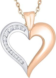 KATARINA チャネルセット ダイヤモンドハートペンダントネックレス ゴールドまたはシルバー (1/4 cttw J-K SI2-I1)