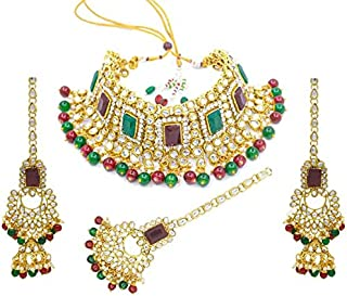I Jewels 18K Gold Plated Traditional Handcrafted Faux Kundan & Pearl Studded Bridal Choker Necklace Jewellery Set with Ear...