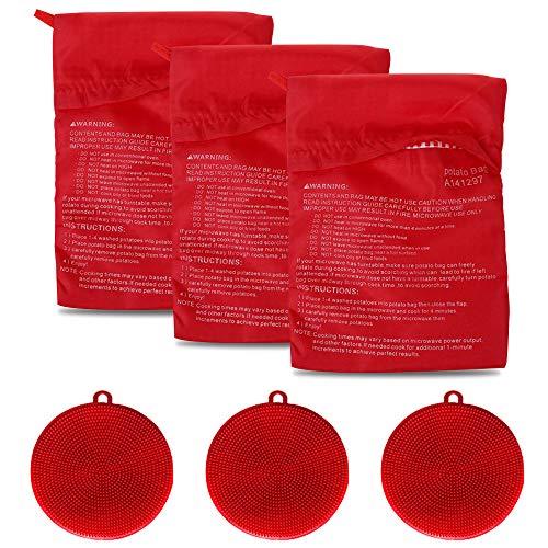 Set di 3 sacchetti per patate a microonde, con 3 spazzole in silicone per verdure, sacchetto riutilizzabile per patate al forno e spugna multiuso in silicone (rosso)