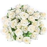 Kesote 50 Cabezas de Rosas Artificiales Flores Artificiales para Manualidades Decoración de Bodas Fiestas, Blanca, 4 CM