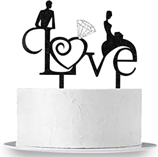 INNORU Love Cake Topper -Glitter Acrylic Engagement, Mr and Mrs Wedding/ Anniversary Party Cake Decorations,Double Color