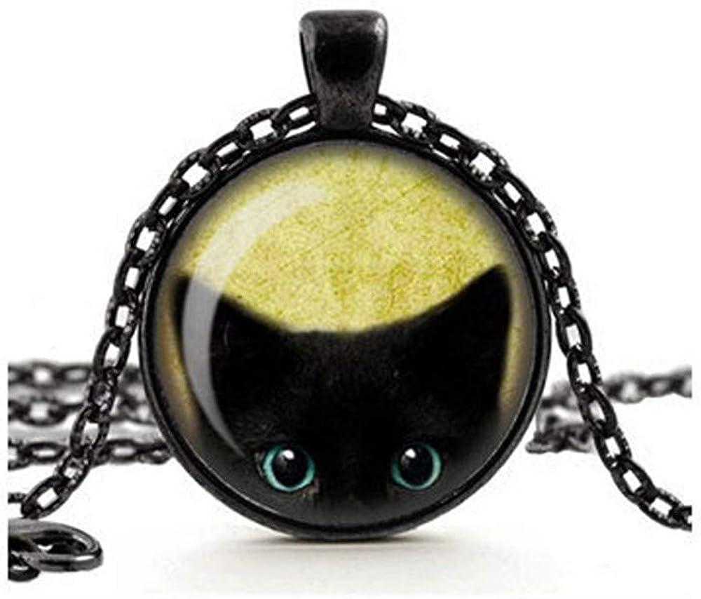 Cute Cheeky Black Cat Peeking Pendant Necklace, Glass Cameo Cabochon Tile Necklace