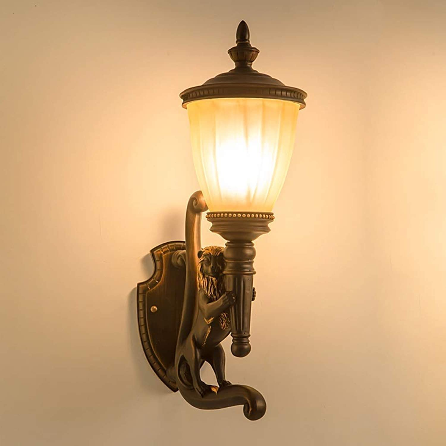 Perfect Home Fashion Creative Lion Outdoor Wall Lamp Retro Waterproof Balcony Patio Wall Light Vintage E27 Single Head Resin Glass Wall Sconce for Front Door Garden Exterior Wall Villa Aisle (Size   L
