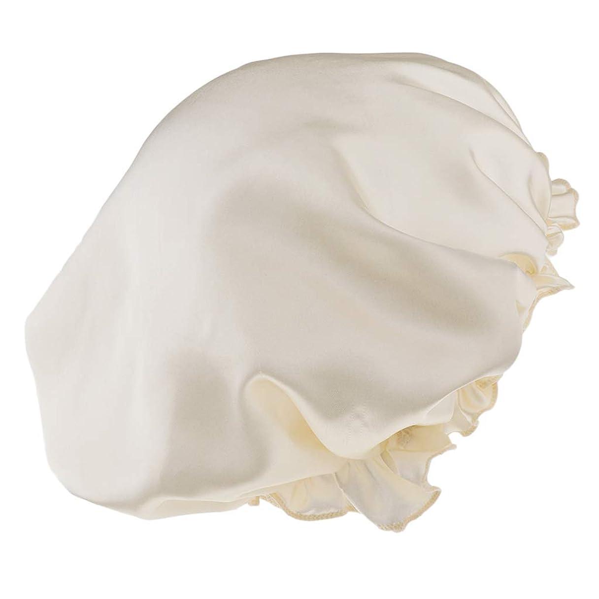 クライマックス誤解させるペットSM SunniMix シャワーキャップ 入浴キャップ 美容 キャップ 帽子 ヘッドカバー 滑らかい シルクサテン 全8色 - ベージュ