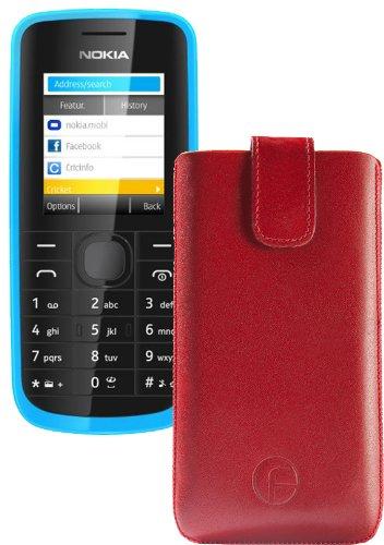 Original Favory Etui Tasche für / Nokia 130 / Leder Etui Handytasche Ledertasche Schutzhülle Hülle Hülle Lasche mit Rückzugfunktion* in rot