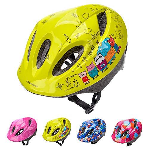 Meteor Casco Bici Ideale per Bambini e Adolescenti Caschi Perfetto per Downhill Ciclismo MTB Scooter Helmet Ideale per Tutte Le Forme di attività in Bicicletta (S (48-52 cm), KS05 Animal Friends)