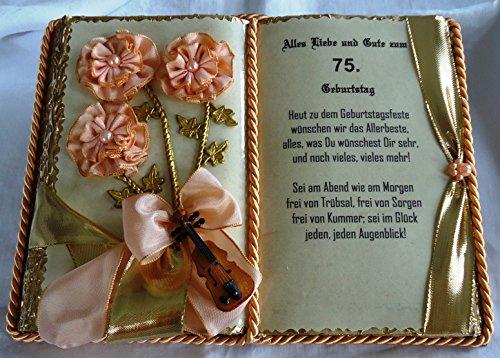 75. Geburtstag – Dekobuch mit Holz-Buchständer, Schmuckbücher für alle Anlässe