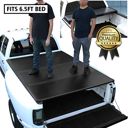 DNA Motoring TTC-HARD-053 Pickup Truck Bed Top Hard Solid Tri-Fold Tonneau Cover Compatible with 2007-2018 Tundra 6.5Ft Bed