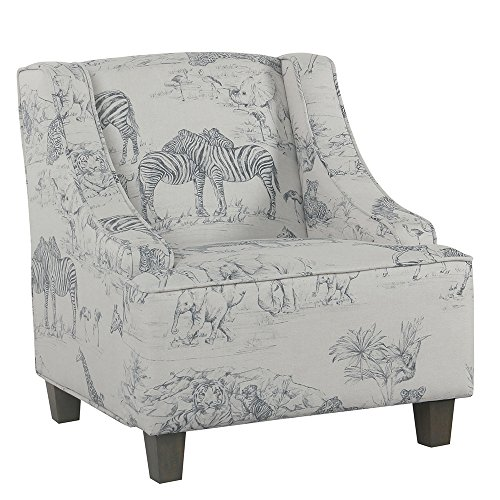 HomePop Youth Upholstered Swoop Arm Accent Chair, Jungle Print