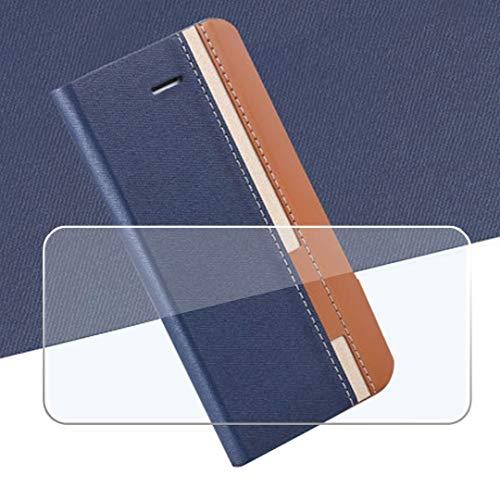 QFSM Blau Schutzhülle + Gehärtetes Glas Panzerglas Folie Für Ulefone Power 6 Schutz Bookstyle Flip Cover Hülle Wallet Purse Brieftasche with Bildschirmschutzfolie Glass Folie