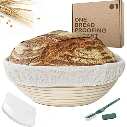 Banneton Proofing Basket Box Set– 9-Inch Bread Proofing Basket with Dough Scraper, Bread Lame and Linen Cover – Hand Crafted Indonesian Rattan – Eco-Friendly and Easy to Clean – Smooth Surface