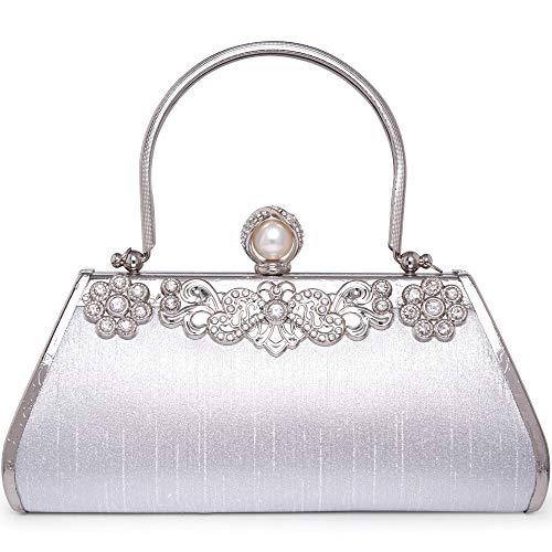 LONGBLE Clutch Silber Damen Tasche Abendtasche Glitzer Kristall Perlen Handtasche Geschenk für Frau Schultertaschen Taschen Brauttasche mit Schulterketten Party Hochzeit