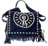 Wildleder – Tasche Denim Damen Umhängetasche mit Fransen und Knochenapplikaten blau