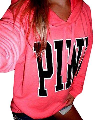 YLnini Womens Casual Hoodie Letters Printed Long Sleeve Sweatshirt Pink L