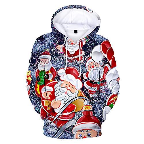 Kapuzenpullover Weihnachten 3D Digitaldruck Cute Cartoon Sweatshirt Warme Und Bequeme Pullover Unisex Cosplay Hoody Kangaroo Pocket Blue 4XL
