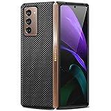 Miimall Carcasa Compatible con Samsung Galaxy Z Fold 2, Cuero + PC Funda [Anticaída] [Anti-arañazo] [Protectora de la cámara] Case para Samsung Galaxy Z Fold 2 - Negro