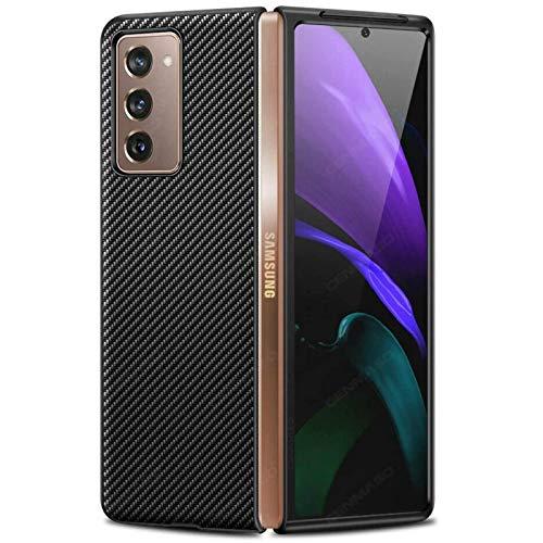 Miimall Hülle für Samsung Galaxy Z Fold 2 5G, Einzigartiges Muster Leder Handyhülle mit PC Bumper Schutz Hülle Kratzfeste Stoßfeste Abdeckung Hülle für Samsung Galaxy Z Fold2 5G 2020 - Schwarz
