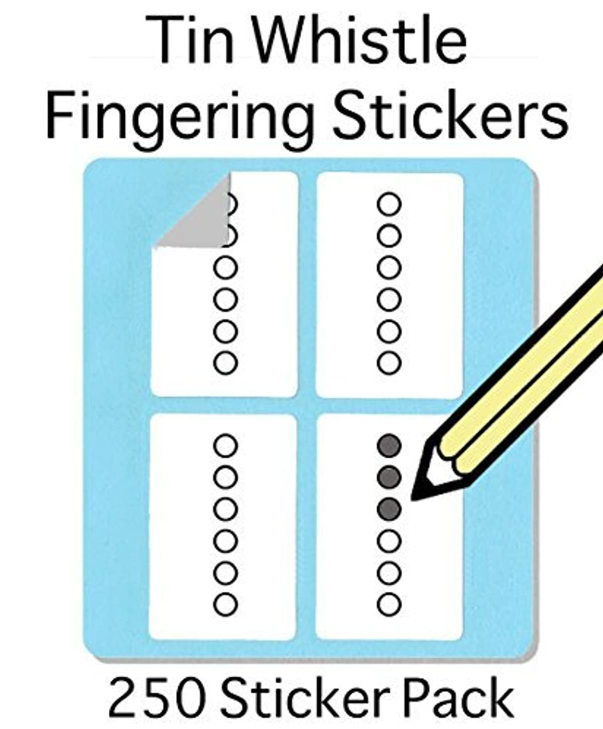 Tin Whistle, Basuri & Native American Flute Fingering Sticker Set (250 Per Pack) Super handy for students and teachers!