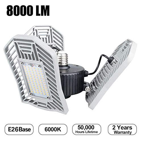 Deformable Led Garage Lights, 80W Garage Led Light 8000lm Daylight Garage Lighting E26 Flex Led Garage Light for Garage, Basement, Attic, Studio