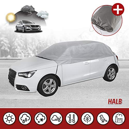 Walser 31088 Autoabdeckung AllWeather Halbgarage Größe M hellgrau, wasserdichte Halbgarage, Staubdicht mit UV Schutz, verstärkte Gurtbefestigung