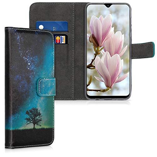 kwmobile Carcasa Compatible con Samsung Galaxy A30s - Funda de Cuero sintético con árbol y Estrellas - Case con Tarjetero