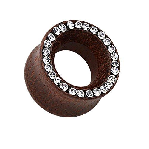 beyoutifulthings Ohr-Tunnel Rosen-Holz KRISTALL-Rand Ohr-Piercing Ohr-Schmuck ORGANISCHES Holz Plug Sattel-Verschluss Dunkelbraun 8mm