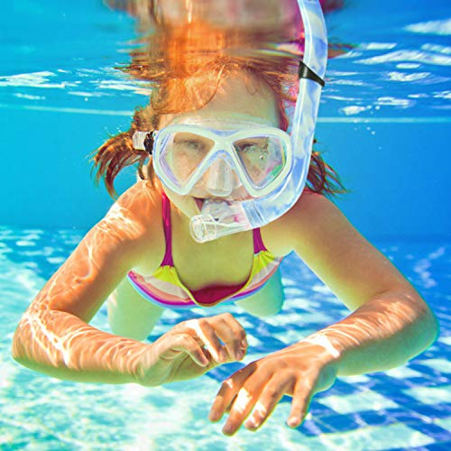 Kuyou Snorkel Set Kids,Anti-Fog Scuba Diving Mask,Children Swimming Goggles, Snorkelling Gear with Breathing Tube for Boys and Girls 5-8 Years Old (Blue)