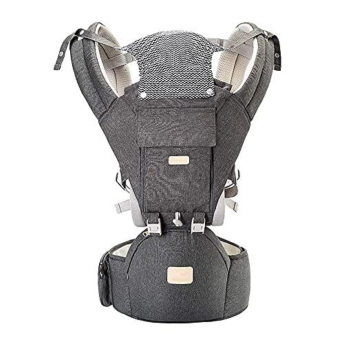 Babytrage, 3-in-1 Babytrage für Neugeborene ab Geburt Baby Trage Ergonomische mit Hüftsitz, 12 Positionen Verstellbar Kindertrage bis 20kg, Baby tragetasche Bauchtrage Rückentrage, Grau