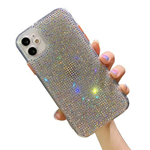 QfireQ Funda de Diamante Brillante para iPhone 12/12 Mini/12 Pro/12 Pro MAX Flexible Estuche del Brillo del Diamante 3D TPU Bumper Anti-caída Protección Case,Clear,12